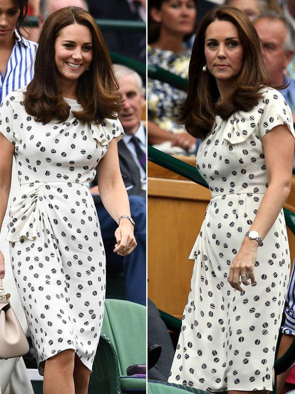 Kate Middleton She wore a white tea dress with a tennis ball print Photo (C) PA, GETTY
