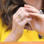 Kate Middleton has been sporting a new citrine ring, thought to potentially be a 'push present' from Prince William [Getty]