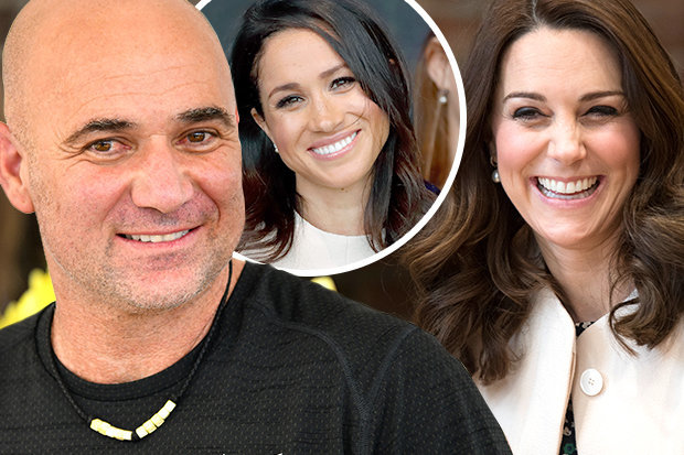 Kate Middleton met Andre Agassi at Wimbledon Photo (C) GETTY, DS