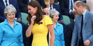 Kate and Prince William appeared to joke with Theresa May as they arrived at the Wimbledon final PhoKate and Prince William appeared to joke with Theresa May as they arrived at the Wimbledon final Photo (C) GETTYto (C) GETTY