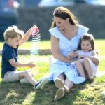 Kate pictured with George and Charlotte at a polo match in June Photo (C) GETTY