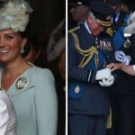 Kate was pictured giggling as Camilla helped Charles with his gloves Photo (C) PA