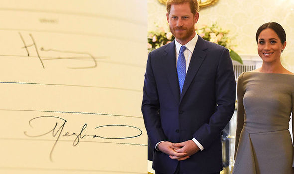 Meghan Markle and Harry's signatures in the visitor's book Photo (C) PA