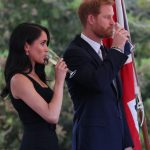 Meghan Markle wore black for the occasion, a colour which the royal family usually reserves for sombre events. Photo Getty Images