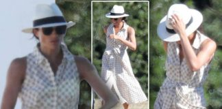 Meghan beamed as she laughed and chatted with friends watching her husband play polo Photo C SPLASHNEWS COM