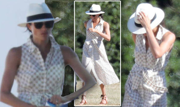 Meghan beamed as she laughed and chatted with friends, watching her husband play polo Photo (C) SPLASHNEWS COM