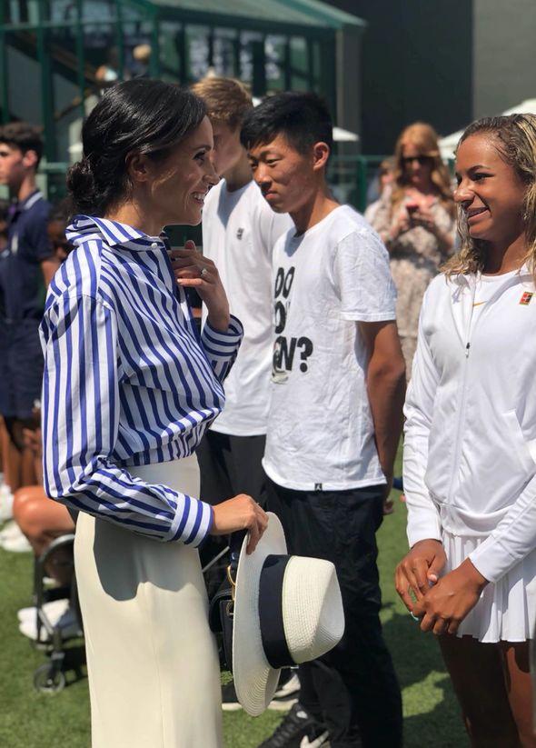 Meghan Markle meets ball boys and girls at Wimbledon