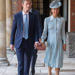 Pippa looked classic and elegant in a pale blue midi dress by Alessandra Rich, with a pleated skirt and a matching hat. . Photo (C) PA