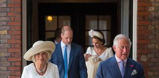 Prince Charles and the Duchess of Cornwall arrived just ahead of Kate and William. Camilla wore an elegant cream dress by Fiona Clare, and a straw-coloured hat by Locke. .. Photo (C) PA