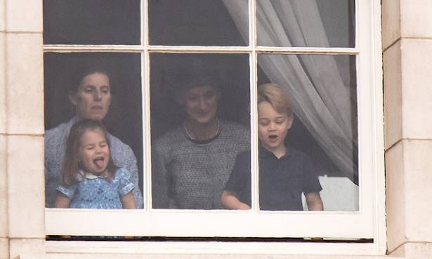 Prince George and Princess Charlotte make cheeky appearance at RAF flypast Photo (C) GETTY