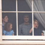 Prince George and Princess Charlotte were spotted at a window of Buckingham Palace [Wenn]