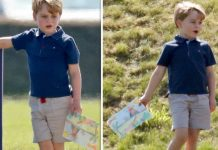 Prince George drew a colourful picture of a volcano and proudly showed it off to his friends (Image GETTY)