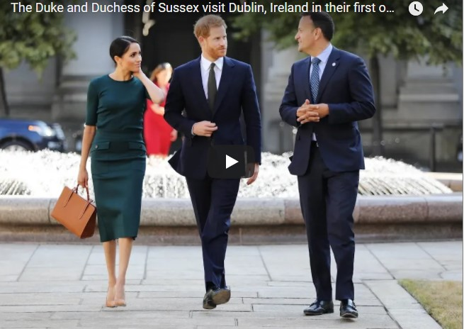 Prince Harry and Meghan Markle walk hand-in-hand during Ireland visit - video