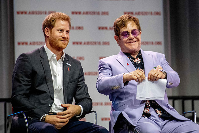 Prince Harry reunites with Sir Elton John to highlight fight against HIV Photo (C) GETTY