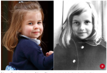 Princess Charlotte and a young Princess Diana