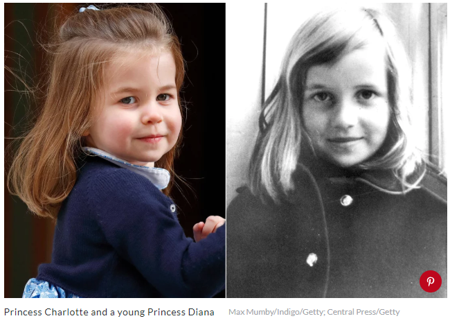 Princess Charlotte and a young Princess Diana