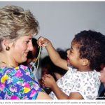 Princess Diana during a visit to a hostel for abandoned children many of which were HIV positive or suffering from AIDS