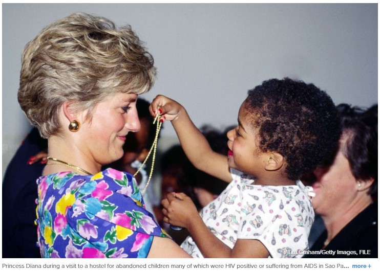 Princess Diana during a visit to a hostel for abandoned children many of which were HIV positive or suffering from AIDS Photo (C) GETTY