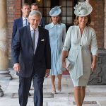 Proud grandparents Carole and Michael Middleton were some of the first guests to arrive, followed closely by daughter Pippa and her husband James. Photo (C) PA
