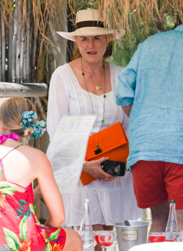 Sarah Ferguson On her head Fergie donned a white hat with a brown band around it Photo (C) GOFFSarah Ferguson On her head Fergie donned a white hat with a brown band around it Photo (C) GOFF