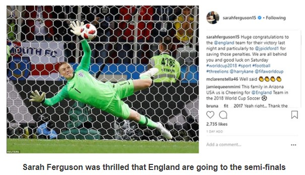 Sarah Ferguson was thrilled that England are going to the semi-finals Photo (C) INSTAGRAM