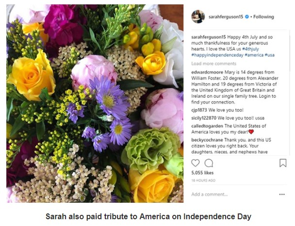 Sarah also paid tribute to America on Independence Day Photo (C) INSSarah also paid tribute to America on Independence Day Photo (C) INSTAGRAMTAGRAM