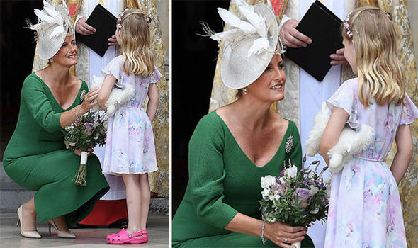 Sophie Countess of Wessex mirrored Princess Diana as she took the time to speak with a young girl Photo (C) EPA
