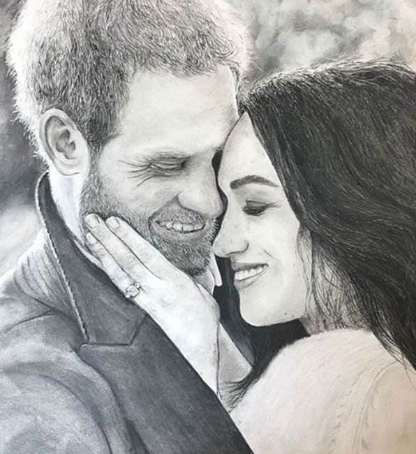 Student Chloe Mullins presented this sketch to Prince Harry and Meghan in Ireland this week Photo (C) GETTY