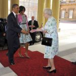 LONDON, ENGLAND - MAY 24: First Lady Michelle Obama and US President Barack Obama (L), are greeted by Queen Elizabeth II and Prince Philip, Duke of Edinburgh (R) as they arrive to Buckingham Palace on May 24, 2011 in London, England. The 44th President of the United States, Barack Obama, and his wife Michelle are in the UK for a two day State Visit at the invitation of HM Queen Elizabeth II. During the trip they will attend a state banquet at Buckingham Palace and the President will address both houses of parliament at Westminster Hall. (Photo by Toby Melville - WPA Pool/Getty Images)