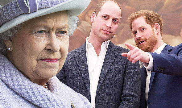 The Queen is said to be concerned about Prince Harry and William's priorities Photo (C) GETTY