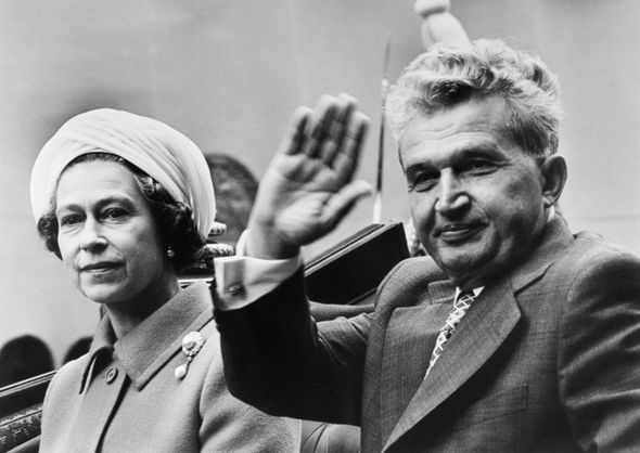 The Queen sitting beside Romanian leader Nicolae Ceausescu in a state Landau carriage Photo (C) Getty Images