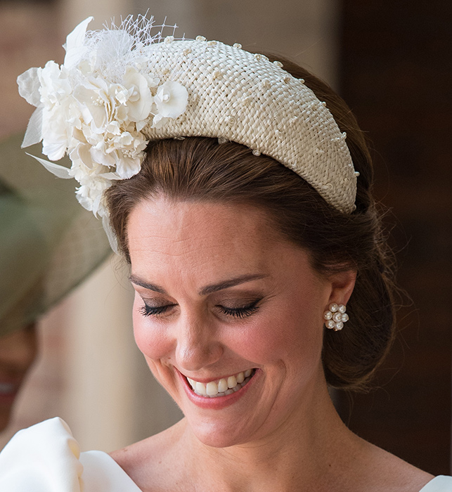 Kate Middleton wore a pair of £4k earrings to Prince Louis' christening Photo (C) GETTY