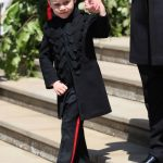 The only time Prince George has worn full length pants in public was at Harry and Meghan's wedding in May. Source Getty