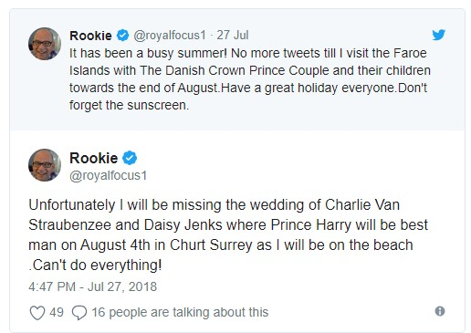 Unfortunately I will be missing the wedding of Charlie Van Straubenzee and Daisy Jenks where Prince Harry Photo (C) TWITTER
