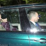 Autumn Phillips, pictured in the backseat, wore a purple tartan scarf draped across her body