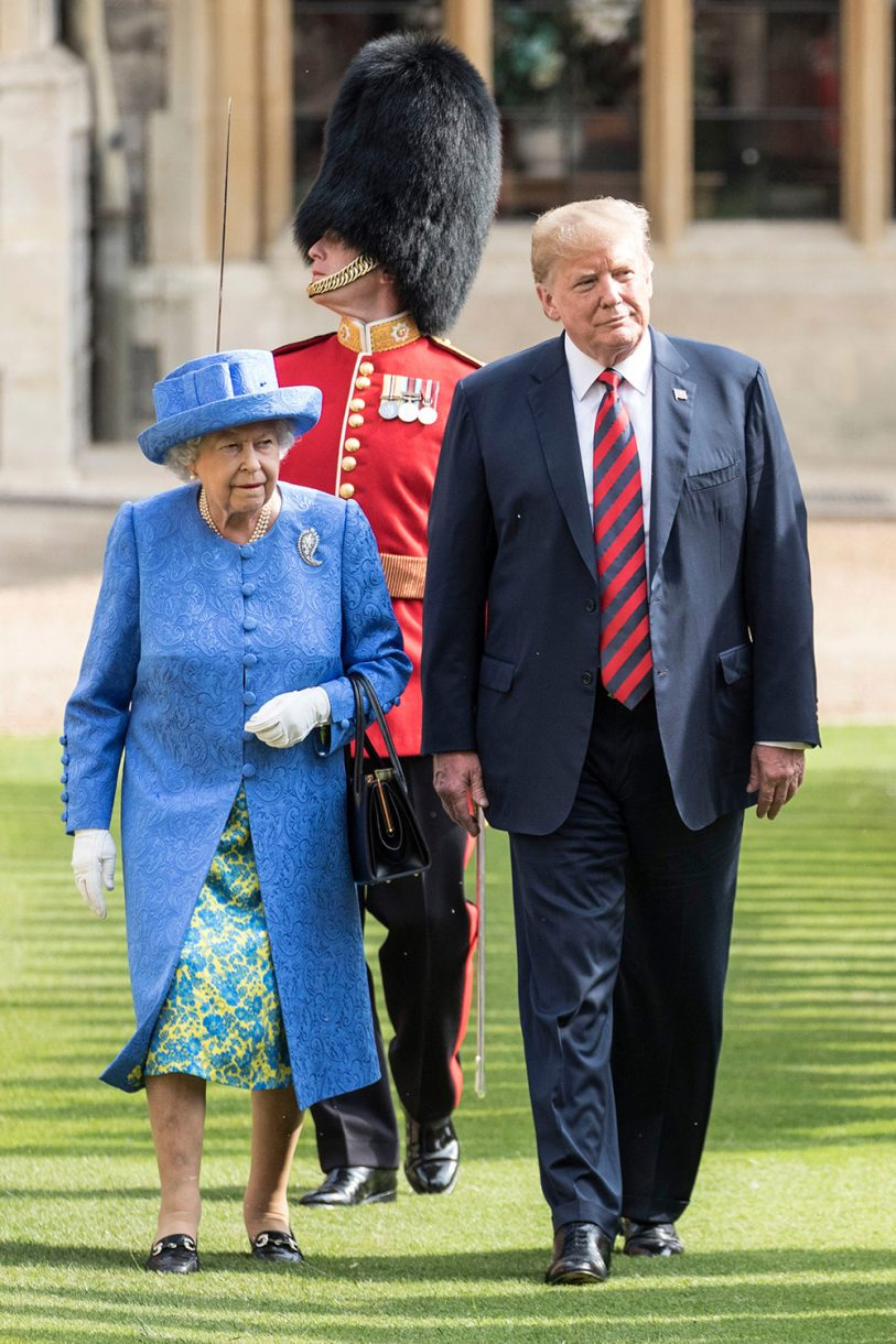 Finally, for the day Trump left the UK to visit Putin, the Queen wore a third brooch to a State Banquet Photo (C) REX