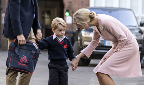 Helen Haslem greeted Prince George on his first day (Image REUETRS )