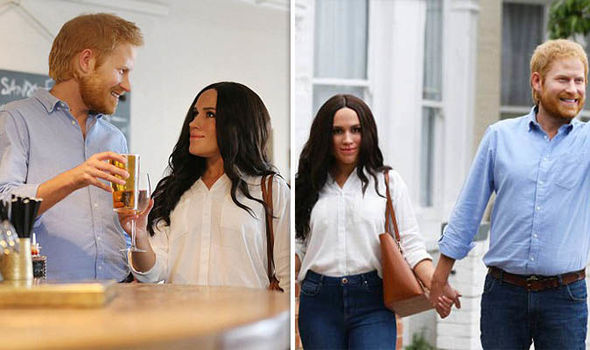 Meghan and Harry wax figures were spotted strolling the streets of London (Image PA)