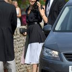 Meghan was recently spotted wearing a gorgeous colour block skirt (Image GETTY)