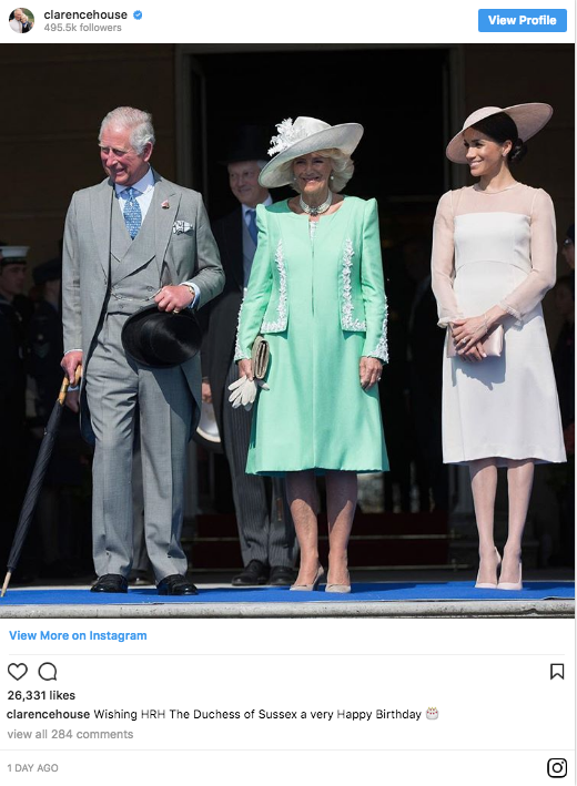Prince Charles and Camilla also wished the Duchess a happy birthday Photo (C) INSTAGRAM