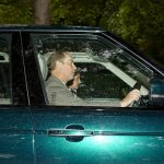 Prince Edward looked focused as he drove his family in a metallic emerald green 4×4
