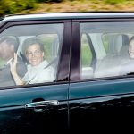 Prince Edward took the wheel as he drove his wife, Sophie Wessex, and daughter Lady Louise Windsor, 14. Their son James, Viscount Severn, 10, did not appear to have joined them