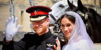 Prince Harry and Meghan Duchess of Sussex at their wedding at Windsor Castle in May
