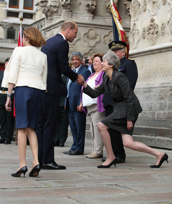 Theresa May has been mocked for her curtsy to Prince William (Image GETTY )