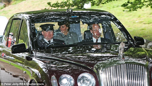 Prince William sat in the front passenger's seat of Her Majesty's Bentley as he joined his wife the Duchess of Cambridge and his grandmother the Queen for church on Sunday morning