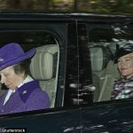 Princess Anne, 68, donned a purple coat and hat which complemented the colours worn by her daughter-in-law Autumn Phillips, 40, seated behind. The family are on holiday in Balmoral