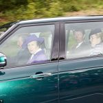 Princess Anne opted for a purple hat and matching coat as she rode in a car with her husband, Vice Admiral Sir Timothy Laurence and her daughter-in-law Autumn Phillips