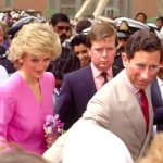 Princess Diana and Prince Charles during their Gulf tour standing behind Ken Wharfe (Image Getty)