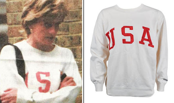 Princess Diana's sweatshirt is going on sale 21-years after it was gifted to staff (Image RRAuction BNPS)
