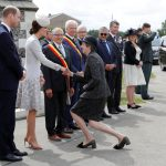 The British Prime Minister did they same curtsey when meeting Kate Middleton in Belgium. Photo Getty